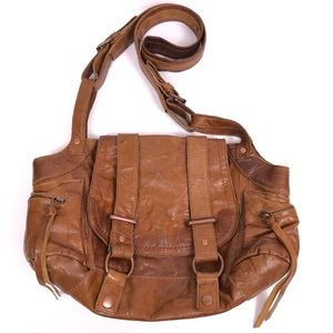 BCBGMAXAZRIA Large Brown Leather Hobo Satchel
